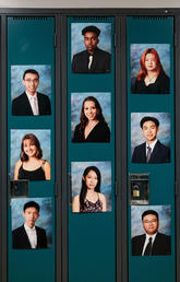 Photos of graduating students are seen on lockers during a graduation ceremony at Magee Secondary School in Vancouver, on June 11, 2020.