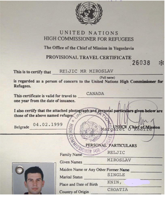 "Miroslav's UN refugee certificate which he says was his ""one-way"" passport to Canada."
