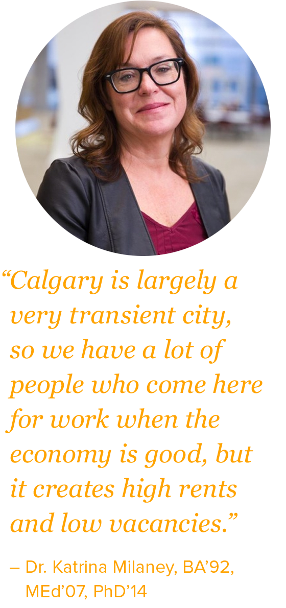 """Calgary is largely a very transient city, so we have a lot of people who come here for work when the economy is good, but it creates high rents and low vacancies."""